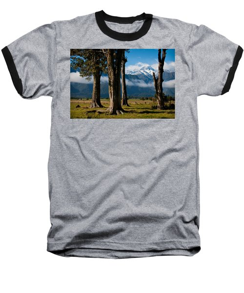 Mt Cook Through Trees Baseball T-Shirt