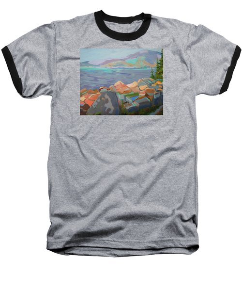 Baseball T-Shirt featuring the painting Mt. Desert From Schoodic Point by Francine Frank
