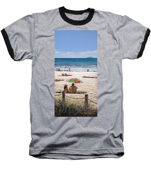 Baseball T-Shirt featuring the painting Mt Maunganui Beach 090209 by Sylvia Kula