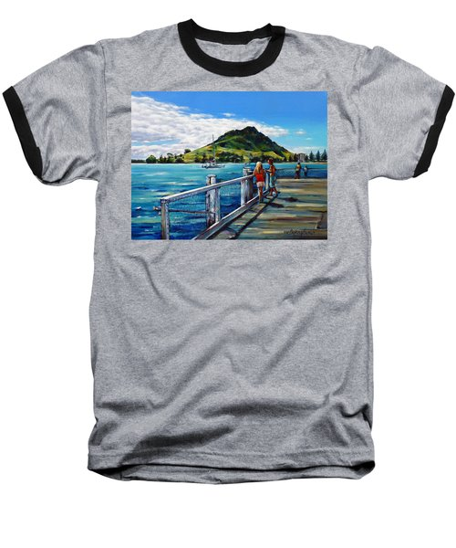 Baseball T-Shirt featuring the painting Mt Maunganui Pier 140114 by Selena Boron