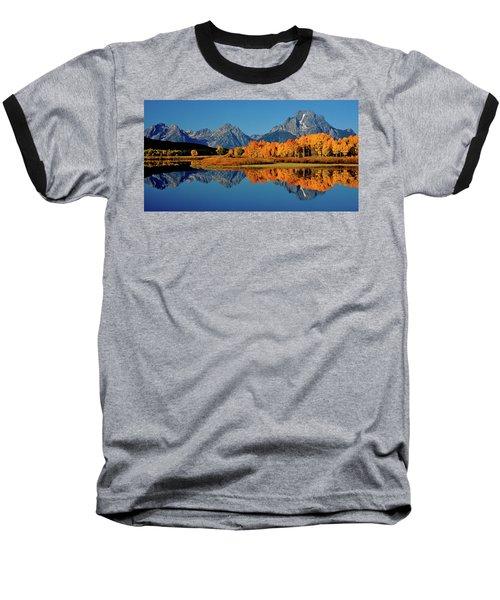 Mt. Moran Reflection Baseball T-Shirt by Ed  Riche