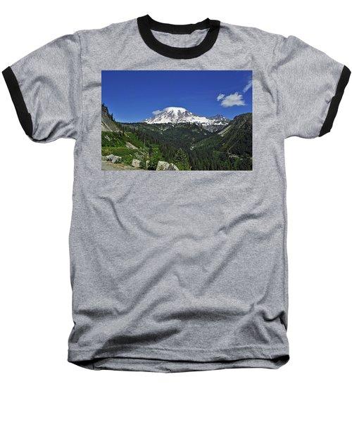 Mt Rainier Between The Valley Baseball T-Shirt
