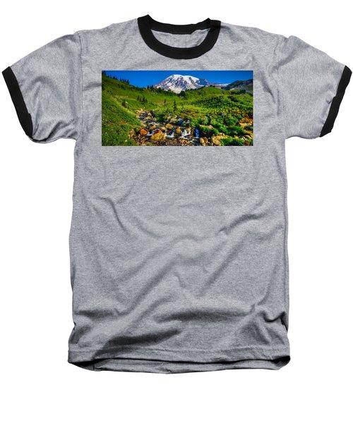 Mt. Rainier Stream Baseball T-Shirt