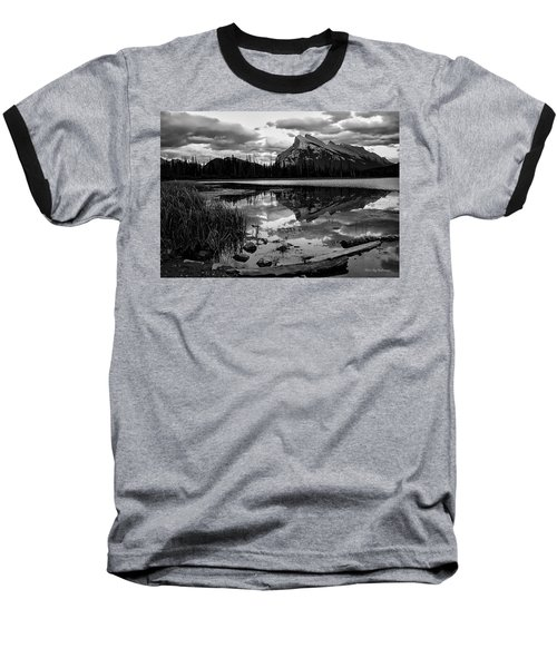 Mt. Rundle Reflection Baseball T-Shirt