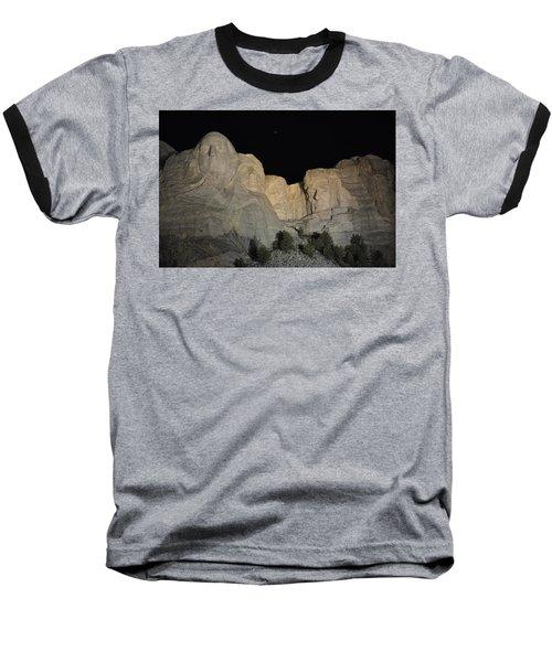 Mt. Rushmore At Night Baseball T-Shirt