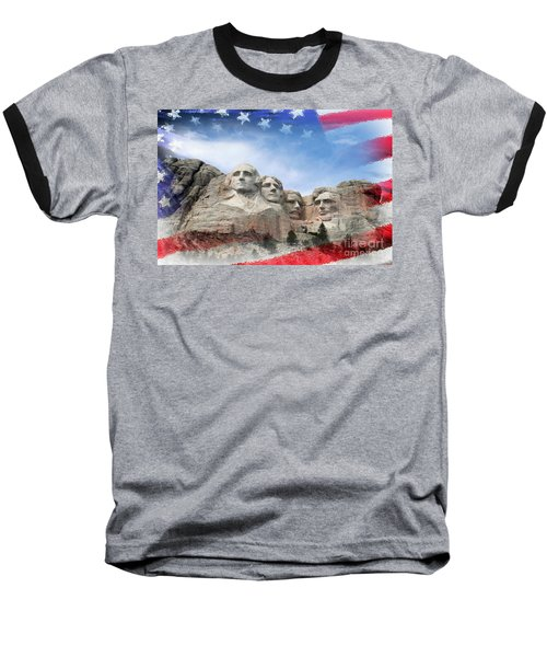 Mt Rushmore Flag Frame Baseball T-Shirt