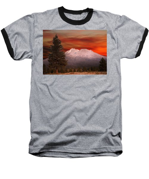 Mt Shasta Fire In The Sky Baseball T-Shirt
