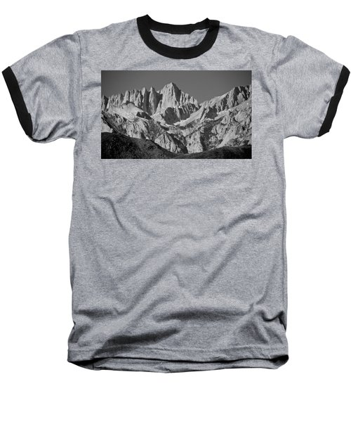 Mt. Whitney In Black And White Baseball T-Shirt
