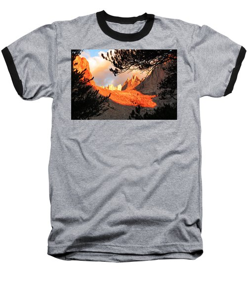 Baseball T-Shirt featuring the photograph Mt. Whitney Sunrise by Alan Socolik