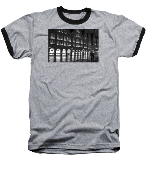Cobblestone Night Walk In The Town Baseball T-Shirt by Miguel Winterpacht