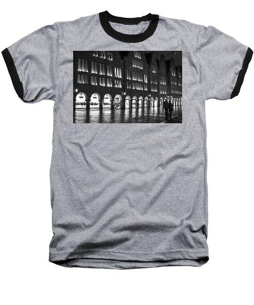 Cobblestone Night Walk In The Town Baseball T-Shirt