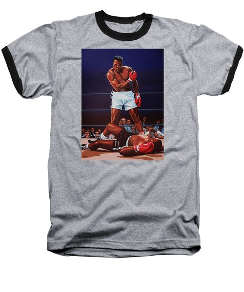 Muhammad Ali Versus Sonny Liston Baseball T-Shirt by Paul Meijering
