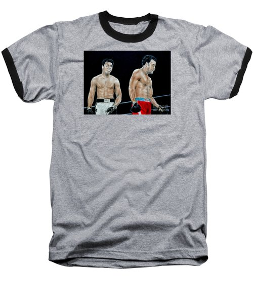 Baseball T-Shirt featuring the drawing Muhammad Ali Vs George Foreman by Jim Fitzpatrick
