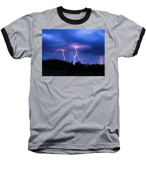 Multi Arc Lightning Strike Baseball T-Shirt