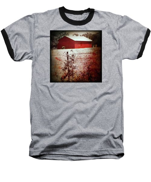 Murder In The Red Barn Baseball T-Shirt by Trish Mistric
