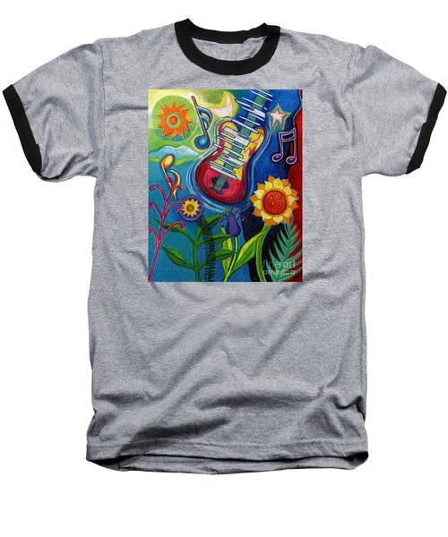 Music On Flowers Baseball T-Shirt by Genevieve Esson