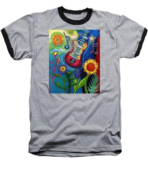 Music On Flowers Baseball T-Shirt