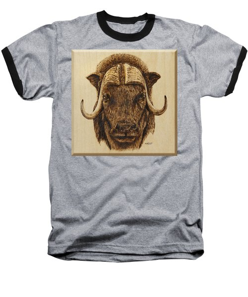 Baseball T-Shirt featuring the pyrography Muskox by Ron Haist