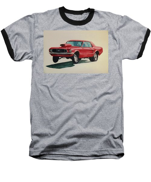 Baseball T-Shirt featuring the painting Mustang Launch by Stacy C Bottoms