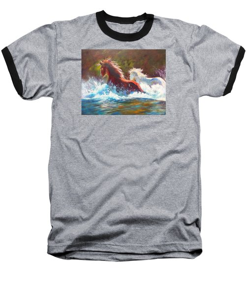 Baseball T-Shirt featuring the painting Mustang Splash by Karen Kennedy Chatham