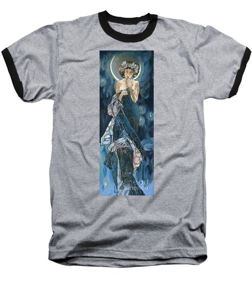 My Acrylic Painting As An Interpretation Of The Famous Artwork Of Alphonse Mucha - Moon - Baseball T-Shirt