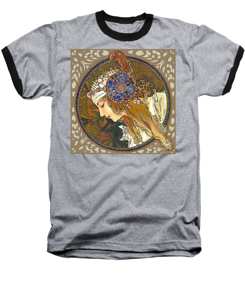My Acrylic Painting As Interpretation Of Alphonse Mucha- Byzantine Head. The Blonde. Diagonal Frame. Baseball T-Shirt