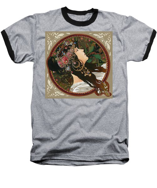 My Acrylic Painting As Interpretation Of Alphonse Mucha - Byzantine Head The Brunette Diagonal Frame Baseball T-Shirt