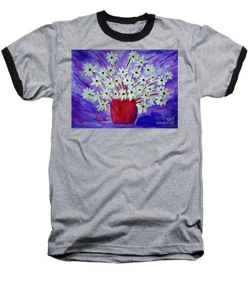 My Daisies Blue Version Baseball T-Shirt by Ramona Matei