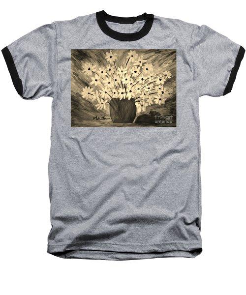 My Daisies Sepia Version Baseball T-Shirt by Ramona Matei