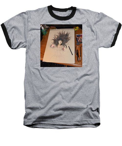 My Drawing Of A Beauty Coming Alive Baseball T-Shirt by Jim Fitzpatrick
