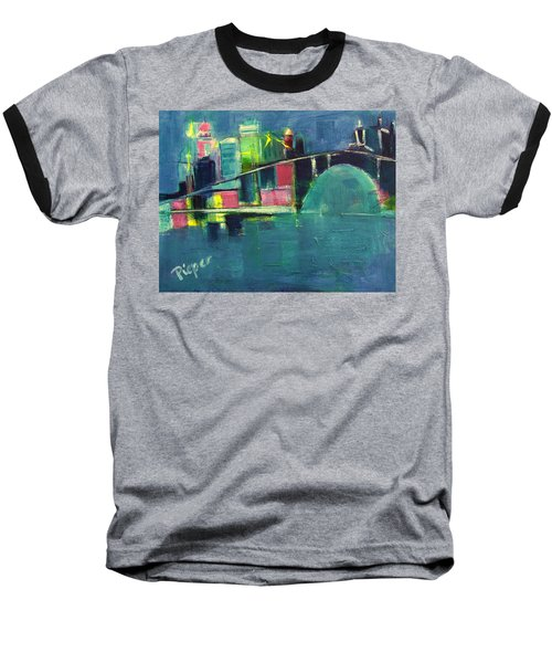 Baseball T-Shirt featuring the painting My Kind Of City by Betty Pieper