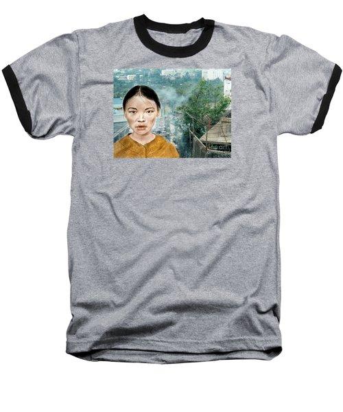 My Kuiama A Young Vietnamese Girl Version II Baseball T-Shirt by Jim Fitzpatrick