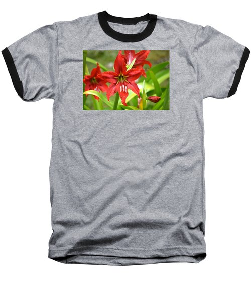 Baseball T-Shirt featuring the photograph My Red Daylily...after The Rain by Lehua Pekelo-Stearns