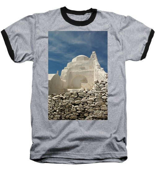 Mykonos Church Baseball T-Shirt by Vivian Christopher