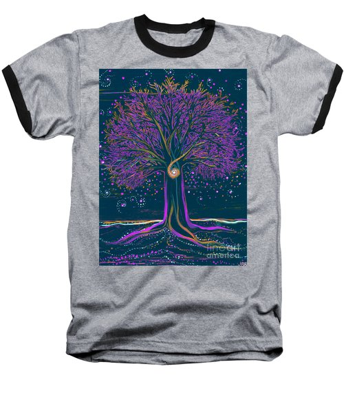 Mystic Spiral Tree 1 Purple Baseball T-Shirt