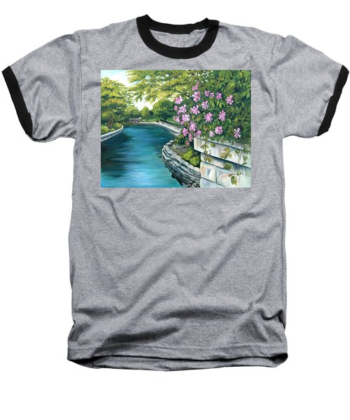Baseball T-Shirt featuring the painting Naperville Riverwalk by Debbie Hart