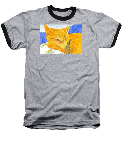 Nappy Cat Baseball T-Shirt by Anne Marie Brown