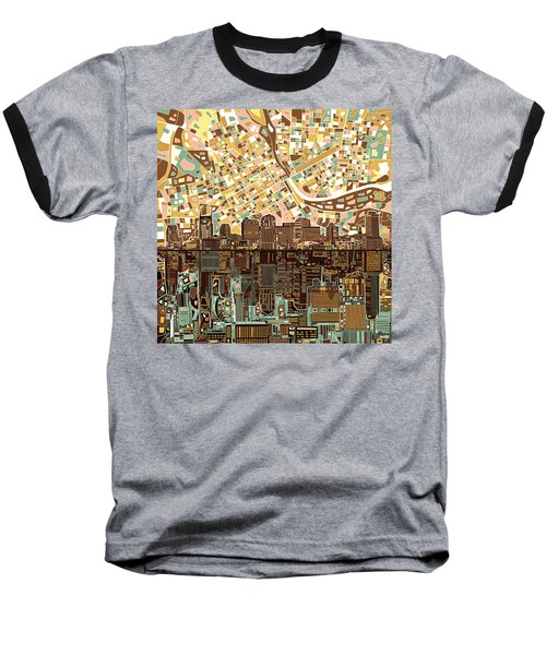 Nashville Skyline Abstract 4 Baseball T-Shirt