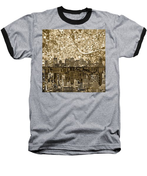 Nashville Skyline Abstract 6 Baseball T-Shirt