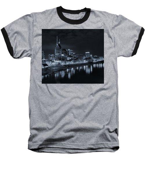 Nashville Skyline At Night Baseball T-Shirt by Dan Sproul