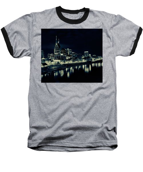 Nashville Skyline Reflected At Night Baseball T-Shirt by Dan Sproul