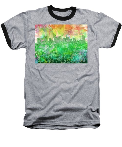 Nashville Skyline Watercolor 2 Baseball T-Shirt