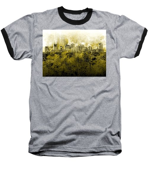 Nashville Skyline Watercolor 4 Baseball T-Shirt