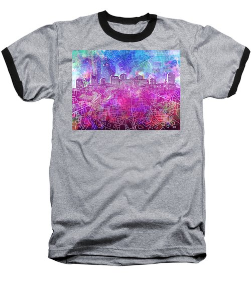 Nashville Skyline Watercolor Baseball T-Shirt