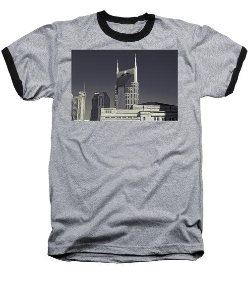 Nashville Tennessee Batman Building Baseball T-Shirt by Dan Sproul