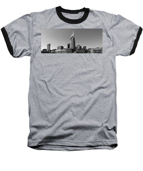 Nashville Tennessee Skyline Black And White Baseball T-Shirt by Dan Sproul