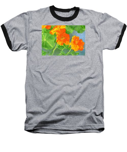 Nasturtiums Flowers Garden Small Oil Painting Baseball T-Shirt by Elizabeth Sawyer