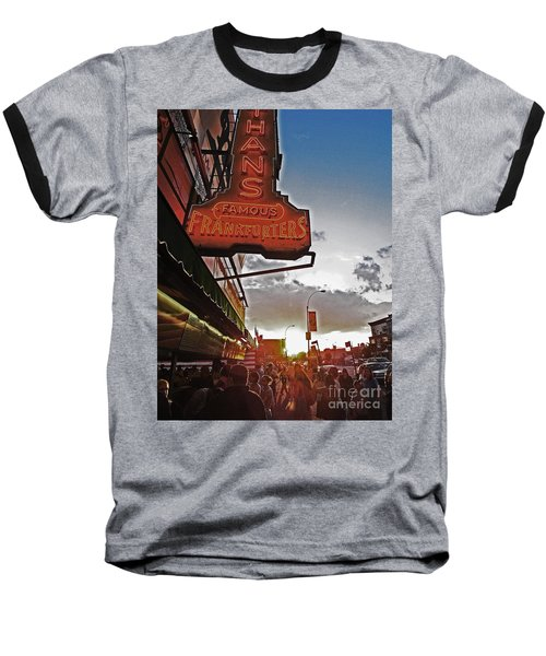 Baseball T-Shirt featuring the photograph Nathan's Famous Coney Island Sunset Frankfurters by Andy Prendy