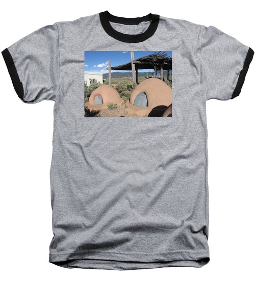 Baseball T-Shirt featuring the photograph Native American Adobe Ovens In New Mexico by Dora Sofia Caputo Photographic Art and Design