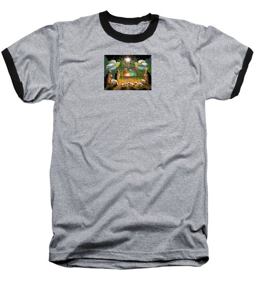 Baseball T-Shirt featuring the painting Nativity by Jean Pacheco Ravinski